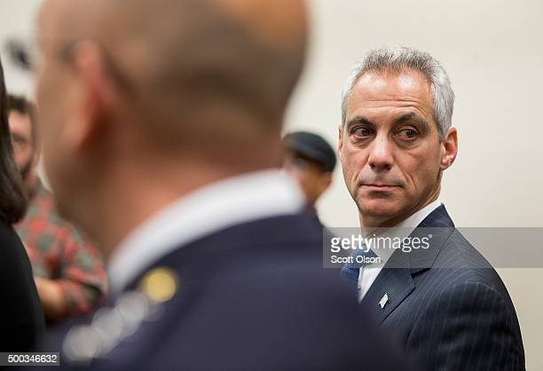 Mayor Rahm Emanuel holds a press conference on December 7 2015 in Chicago Illinois The mayor the police department and the Cook County state's...