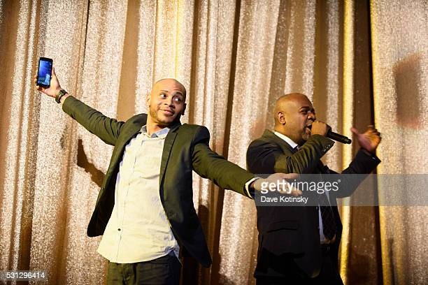 Mayor Ras J Baraka and Actor JD Williams introduce Faith Evans at the 2016 Newark Celebration 350 Founders Weekend Festival on May 13 2016 in Newark...