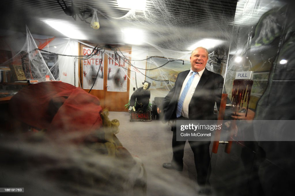 Mayor Rob Ford decorated his offices for Halloween with witches skeletons snakes and cob webs and invited the media in to take a look. Toronto, October 28, 2013.