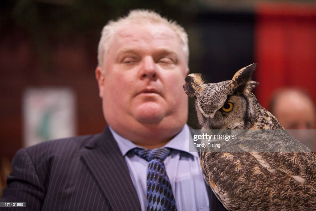 Mayor Rob Ford holds Alexandra, the owl, a North American Great Horned Owl at the Toronto Sportsmen's Show at the Direct Energy Centre, Exhibition Place. Feb. 7, 2013. RANDY