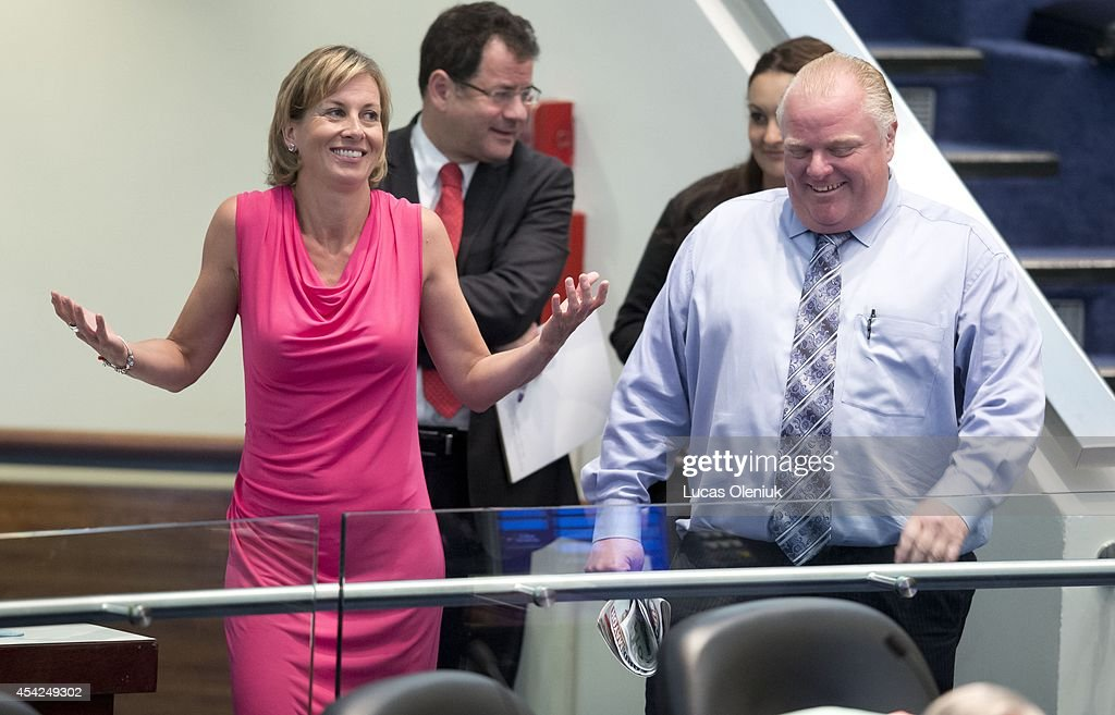 Mayor Rob Ford shared a laugh with Karen Stintz Tuesday morning. Toronto city council is meeting this week for the last time before the upcoming municipal election. Aug 26, 2014