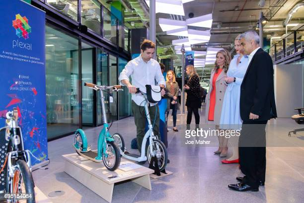 Mayor Sadiq Khan meets Jason Iftakhar CEO of Swifty Scooters at the opening of Plexal on June 12 2017 in London EnglandPlexal the new International...