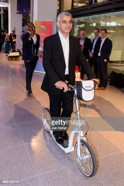 Mayor Sadiq Khan tries out a Swifty Scooter at the opening of Plexal on June 12 2017 in London EnglandPlexal the new International technology...