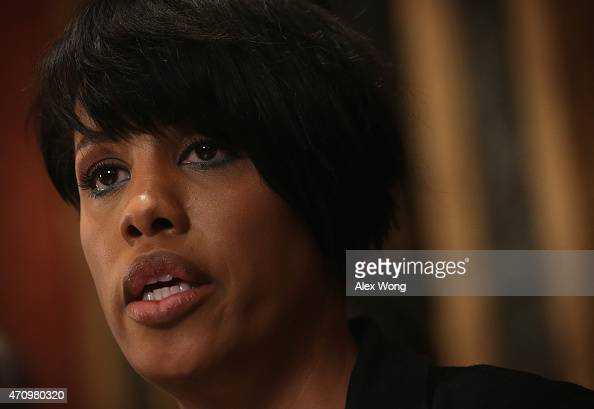 Mayor Stephanie RawlingsBlake of Baltimore speaks at a news conference at City Hall April 24 2015 in Baltimore Maryland RawlingsBlake spoke on the...