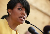 Mayor Stephanie RawlingsBlake speaks during a news conference in front of the burned CVS in the Sandtown neighborhood May 7 2015 in Baltimore...