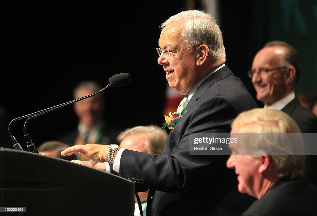 Mayor Thomas M. Menino. Hosted by Boston City Councilor Bill Linehan, the annual South Boston St. Patrick's Day Breakfast is held at the Boston Convention and Exhibition Center, on Sunday, March 17, 2013.