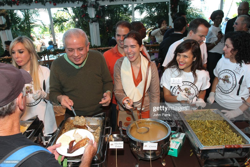 Mayor Thomas Regalado participate in 5th Annual Thanksgiving Feed A Friend at Bongos on November 22, 2012 in Miami, Florida.
