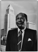 Mayor Tom Bradley poses during a 1980 Los Angeles California photo portrait session in front of City Hall