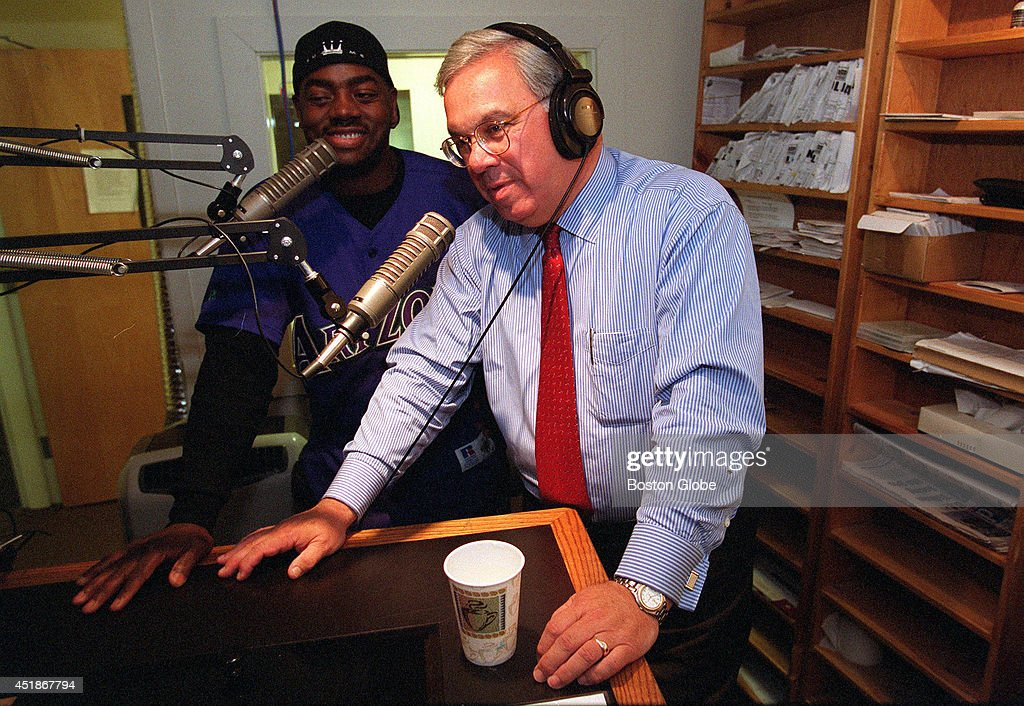 Mayor Tom Menino has a laugh during an interview at WILD with 'Coach Willie Maye', left, who is a fixture on the Boston Sports scene. The Mayor was doing a last bit of campaigning before tomorrows election.