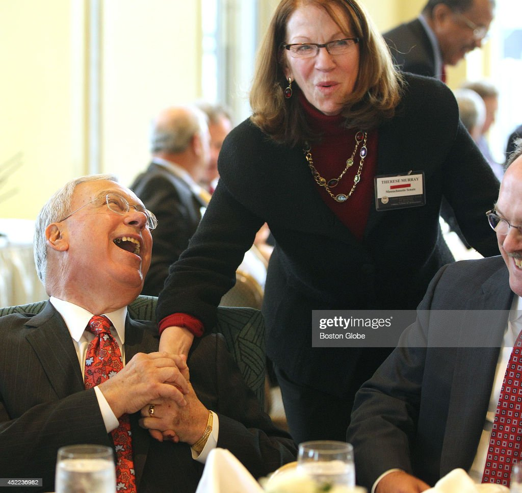 Mayor Tom Menino shares a laugh with Senate President Therese Murray at the Boston College Chief Executives' Club of Boston luncheon, on Thursday, December 5, 2013. James J. Murren , chairman and CEO of MGM Resorts International is the scheduled speaker.