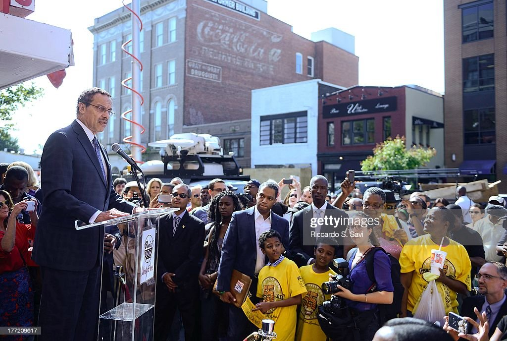 D.C. Mayor Vincent Gray attends the 55th Anniversary of Ben's Chili Bowl on August 22, 2013 in Washington, DC.