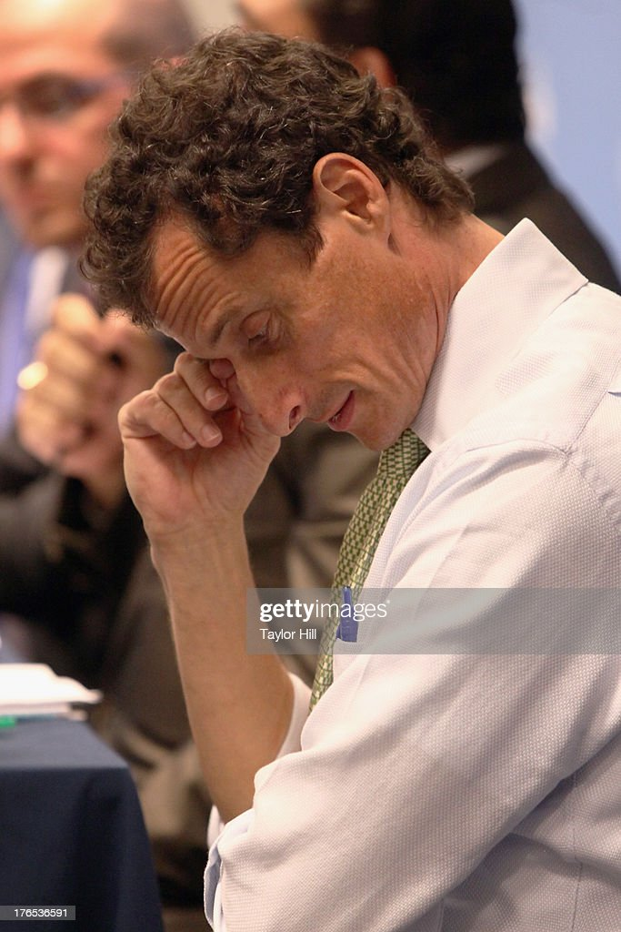 Mayoral candidate <a gi-track='captionPersonalityLinkClicked' href=/galleries/search?phrase=Anthony+Weiner&family=editorial&specificpeople=821661 ng-click='$event.stopPropagation()'>Anthony Weiner</a> attends The New York City Mayoral Forum on Cultural Sensitivity & Tolerance at the Museum of Tolerance on August 14, 2013 in New York City.