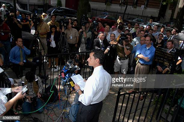 NYC Mayoral Candidate Anthony Weiner stands in front of the home he grew up in in Park Slope Brooklyn on September 14 2005 and announces that he is...