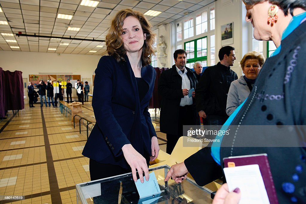 UMP Mayoral Candidate for the Paris municipal elections Nathalie Kosciusko-Morizet poses before casting her ballot in the first round of the French municipal elections at a polling station on March 23, 2014 in Paris, France. Voting started today in the first round of the municipal elections, the contest is the first nationwide vote since Socialist leader Francois Hollande was elected as president two years ago.