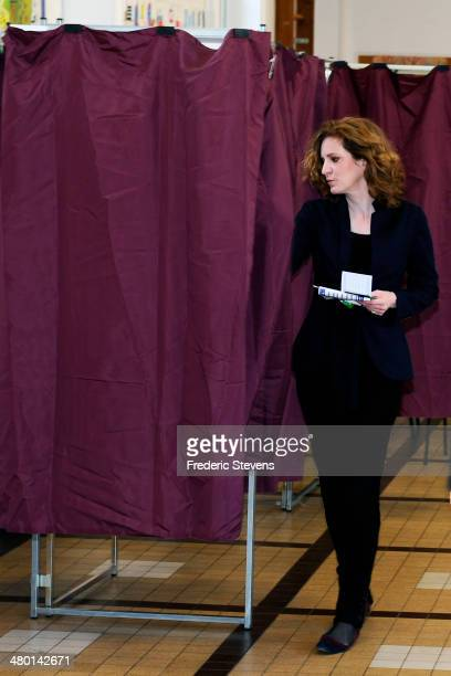 Mayoral Candidate for the Paris municipal elections Nathalie KosciuskoMorizet poses before casting her ballot in the first round of the French...