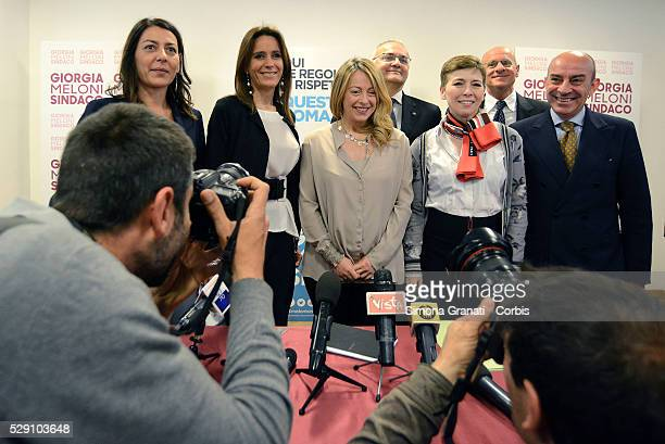 Mayoral candidate Giorgia Meloni attends the presentation of the lists with supporters of her campaign for mayor of Rome at the headquarters of the...
