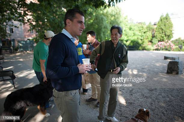 Mayoral candidate Michael P Ross met with potential voters at Peters Park Dog Park in the South End Ross formally announced his campaign for mayor...