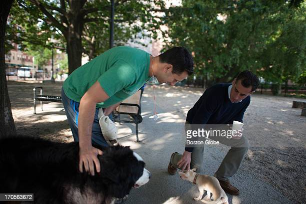 Mayoral candidate Mike Ross met with potential voter Jay Mofenson and his dogs Bailey and Pepe at Peters Park Dog Park in the South End Ross formally...