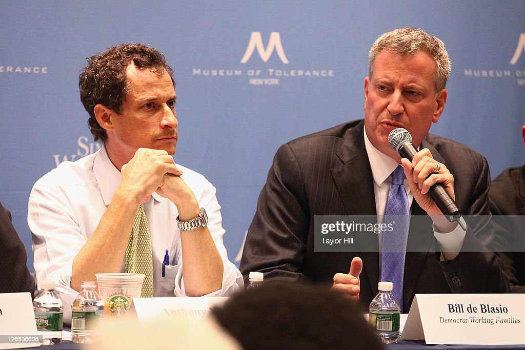 Mayoral candidates <a gi-track='captionPersonalityLinkClicked' href=/galleries/search?phrase=Anthony+Weiner&family=editorial&specificpeople=821661 ng-click='$event.stopPropagation()'>Anthony Weiner</a> and Bill de Blasio attend The New York City Mayoral Forum on Cultural Sensitivity & Tolerance at the Museum of Tolerance on August 14, 2013 in New York City.