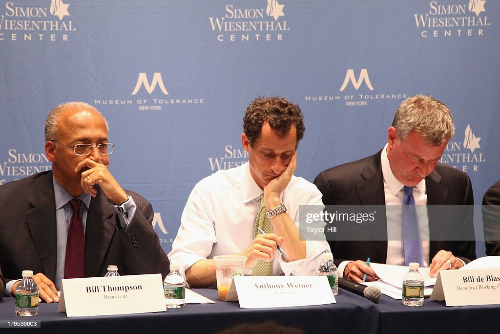 Mayoral candidates Bill Thompson, <a gi-track='captionPersonalityLinkClicked' href=/galleries/search?phrase=Anthony+Weiner&family=editorial&specificpeople=821661 ng-click='$event.stopPropagation()'>Anthony Weiner</a>, and Bill de Blasio attend The New York City Mayoral Forum on Cultural Sensitivity & Tolerance at the Museum of Tolerance on August 14, 2013 in New York City.