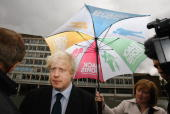 Mayoral Conservative Party candidate Boris Johnson takes time out between interviews at Stockwell Park High School during last days of mayoral...