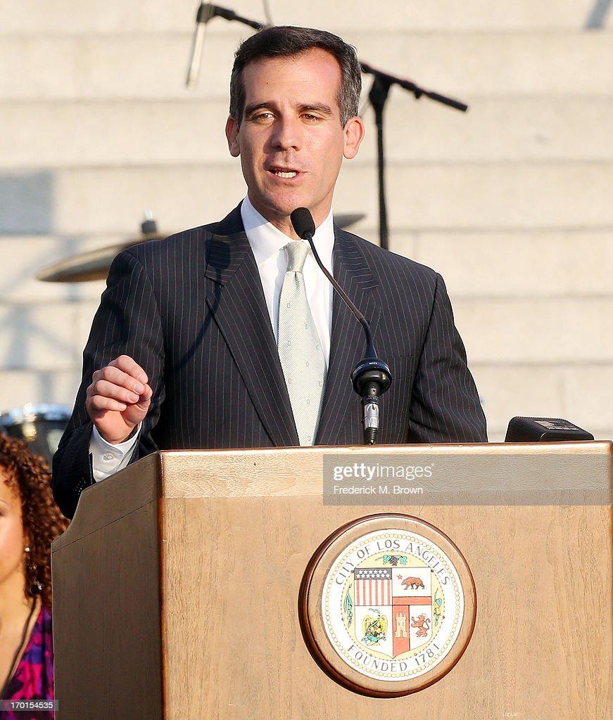 Mayor-elect Eric Garcetti speaks during President Bill Clinton Pays Tribute to Mayor Antonio Villaraigosa at Celebrate LA! on June 7, 2013 in Los Angeles, California.