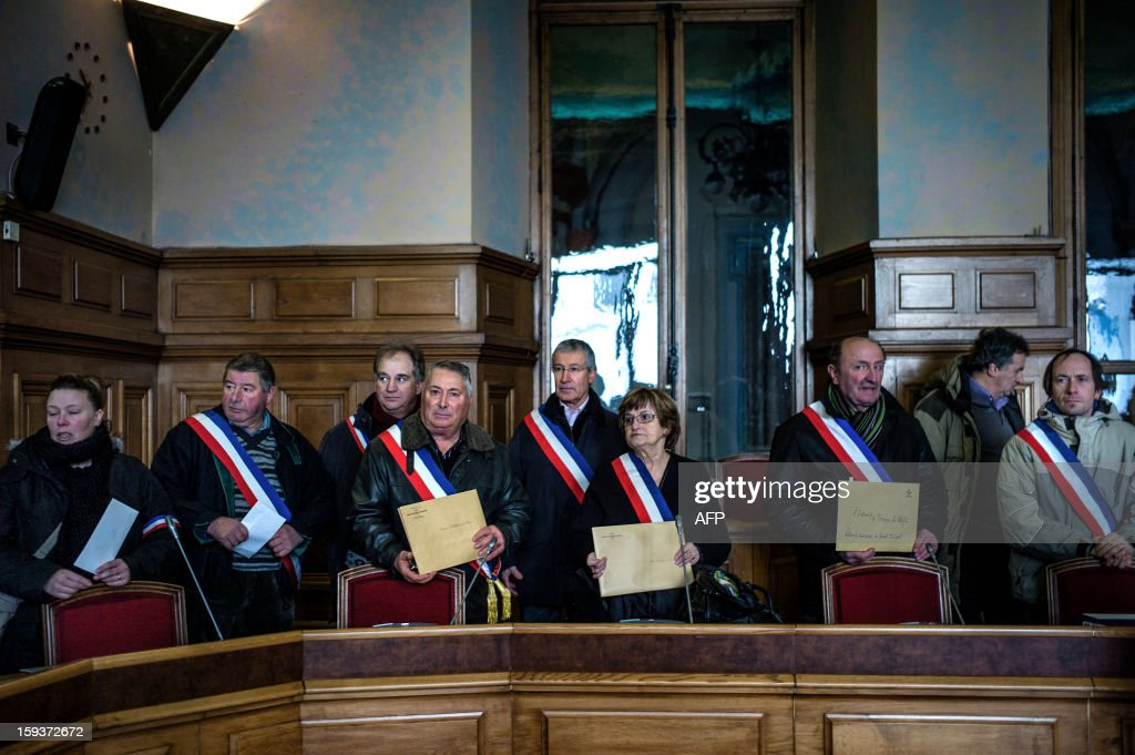 Mayors and deputies gather in the Loire prefecture on January 12, 2013 in Saint-Etienne, to present their resignation in protest against the merging of their towns into the Roanne's agglomeration. AFP PHOTO / JEFF PACHOUD