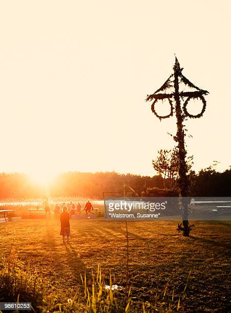 Maypole at sunset, Sweden.