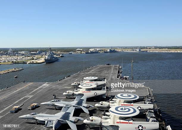 Mayport, Florida, October 31, 2012 - The aircraft carrier USS Enterprise (CVN 65) arrives at Naval Station Mayport, Florida.