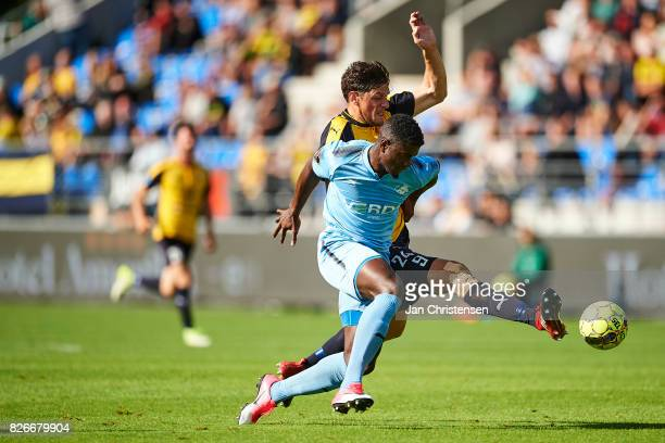 Mayron George of Randers FC and Rasmus Minor Petersen of Hobro IK compete for the ball during the Danish Alka Superliga match between Hobro IK and...