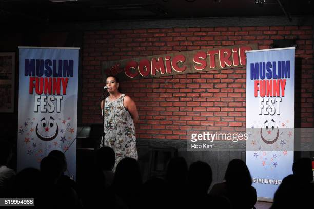 Maysoon Zayid makes an intro at Muslim Funny Fest at Comic Strip Live on July 20 2017 in New York City