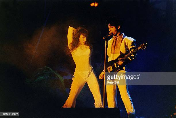 Mayte and Prince perform on stage at Meadowbank Stadium on July 29th 1993 in Edinburgh Scotland