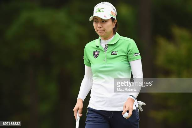 Mayu Hattori of Japan looks on after her putt on the first green during the final round of the Nichirei Ladies at the on June 18 2017 in Chiba Japan