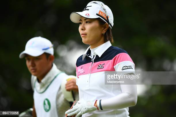 Mayu Hattori of Japan looks on during the final round of the Suntory Ladies Open at the Rokko Kokusai Golf Club on June 11 2017 in Kobe Japan