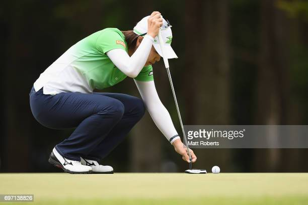 Mayu Hattori of Japan prepares to putt on the first green during the final round of the Nichirei Ladies at the on June 18 2017 in Chiba Japan