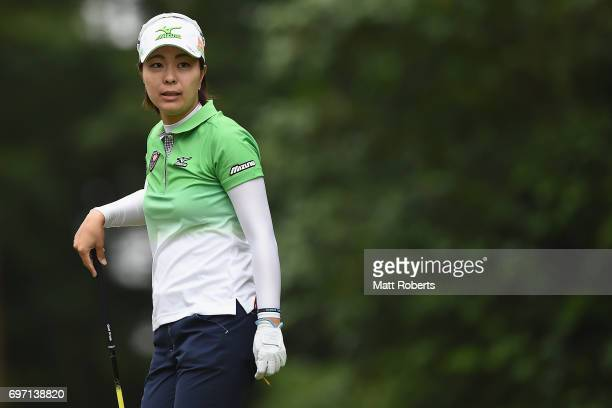 Mayu Hattori of Japan watches her tee shot on the 2nd hole during the final round of the Nichirei Ladies at the on June 18 2017 in Chiba Japan