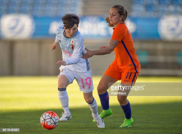 Mayu Sasaki of Japan and Lieke Martens of The Netherlands during the Fifth Place Playoff 2017 Algarve Cup match between Japan and The Netherlands at...