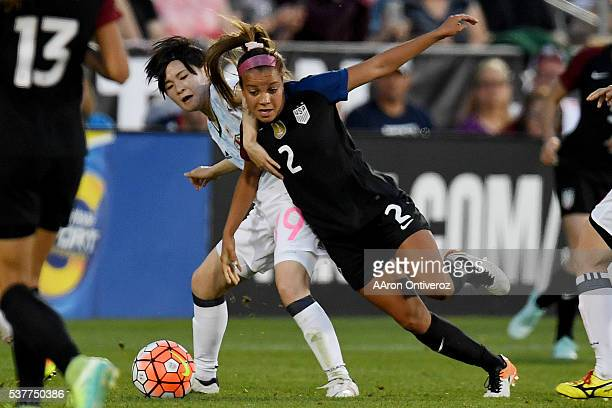 Mayu Sasaki of Japan defends Mallory Pugh of US Women's National Team during the first half of action of their 33 tie The US Women's National team...