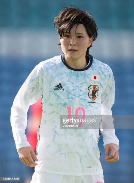 Mayu Sasaki of Japan during the Group B 2017 Algarve Cup match between Norway and Japan at the Estadio Algarve on March 06 2017 in Faro Portugal