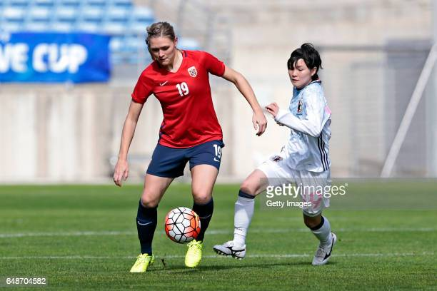 Mayu Sasaki of Japan Women challenges Ingvild Isaksen of Norway Women during the match between Norway v Japan Women's Algarve Cup on March 3rd 2017...