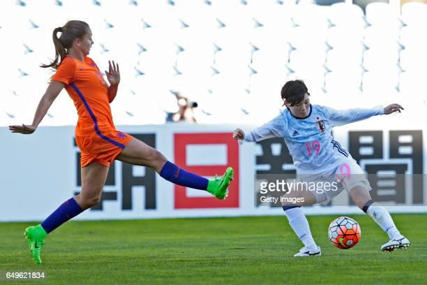Mayu Sasaki of Japan Women challenges Lieke Martens of Netherlands Women during the match between Japan v Netherlands Women's Algarve Cup on March 8...