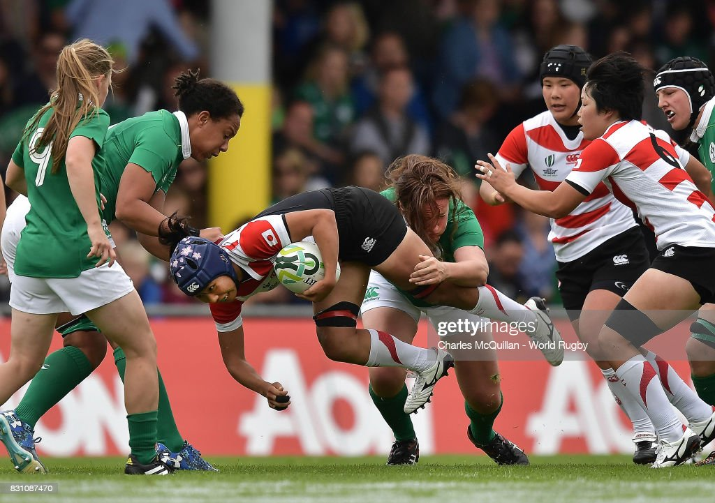 Mayu Shimizu of Japan is tackled during the Women's Rugby World Cup 2017 match between Ireland and Japan on August 13, 2017 in Dublin, Ireland.