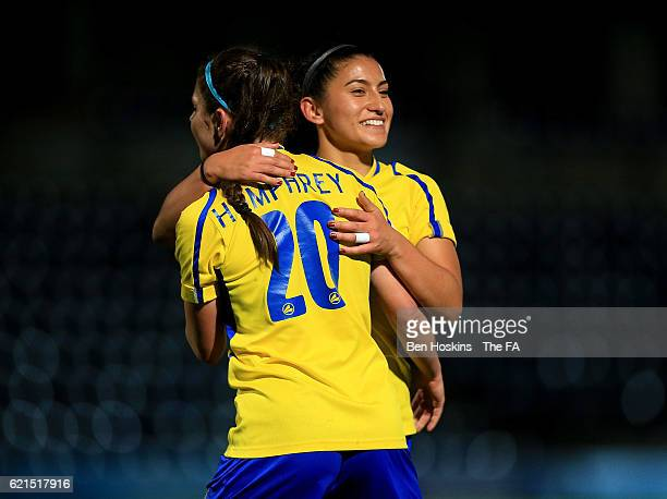 Mayumi Pacheco and Carla Humphrey of Doncaster celebrate their team's victory during the WSL match between Reading FC Women and Doncaster Rovers...