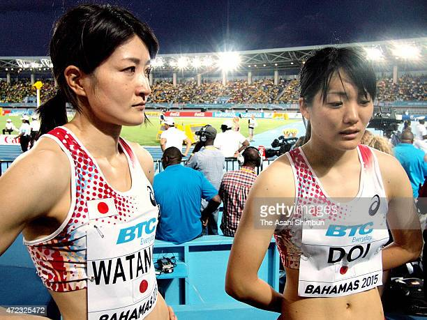 Mayumi Watanabe and Anna Doi speak after their disqualification in the round one of the womens 4 x 100 metres on day two of the IAAF/BTC World Relays...