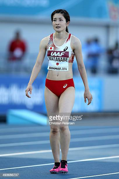 Mayumi Watanabe of Japan reacts after competing in the Women's 4x100 metres relay during day one of the IAAF World Relays at the Thomas Robinson...