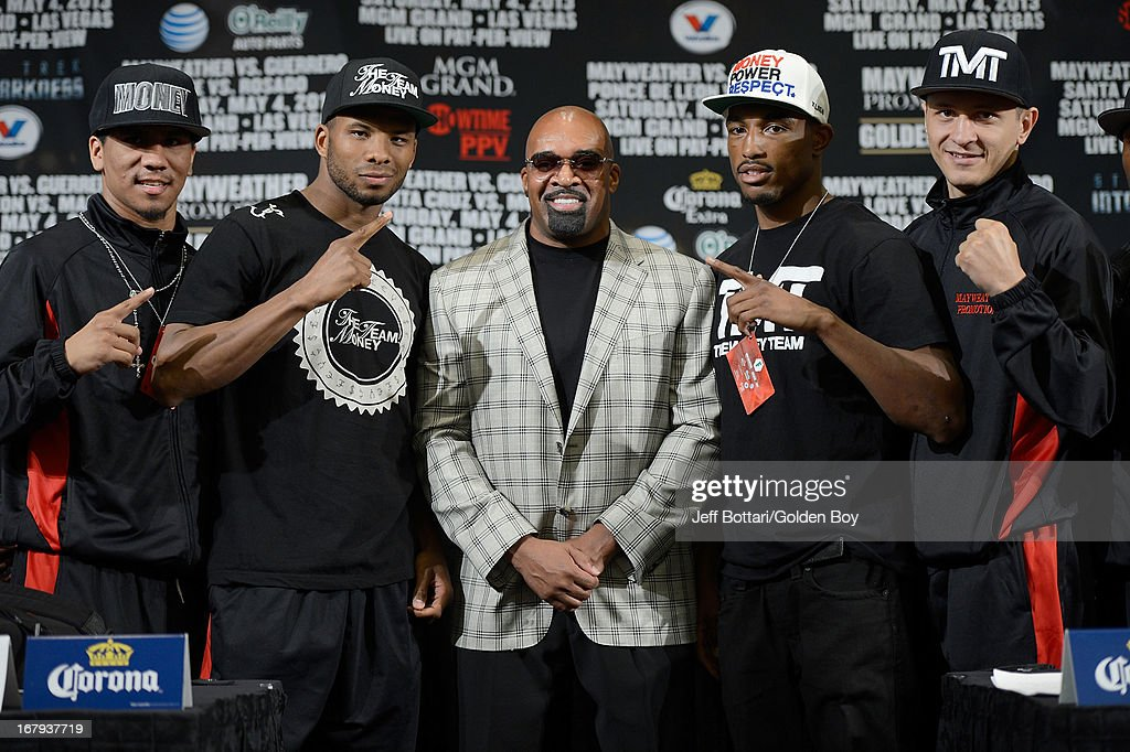 Mayweather Promotions boxers Luis Arias, Badou Jack, CEO of Mayweather Promotions Leonard Ellerbe, J'Leon Love and Ronald Gavril pose during the final news conference for their bouts at the MGM Grand Hotel/Casino on May 2, 2013 in Las Vegas, Nevada.