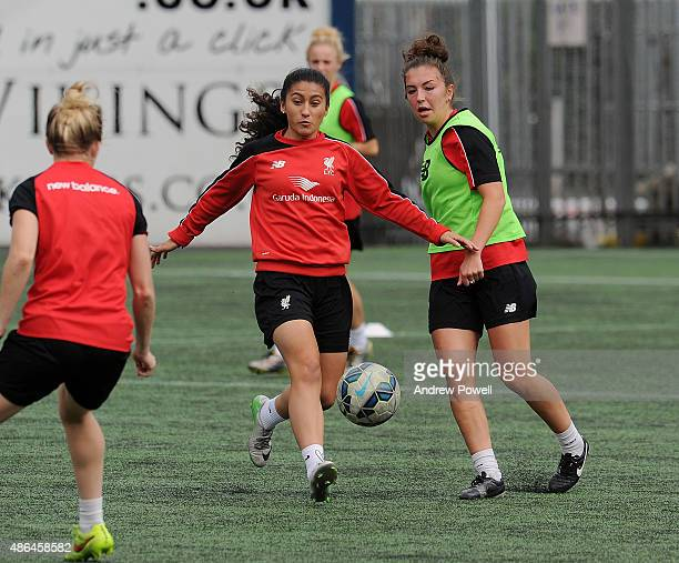 Maz Pacheco and Katie Zelem of Liverpool Ladies in action during a training session at Select Security Stadium on September 4 2015 in Widnes England