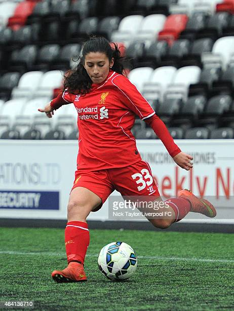 Maz Pacheco of Liverpool Ladies in action during the preseason friendly between Liverpool Ladies and Yeovil Town Ladies at Select Security Stadium on...