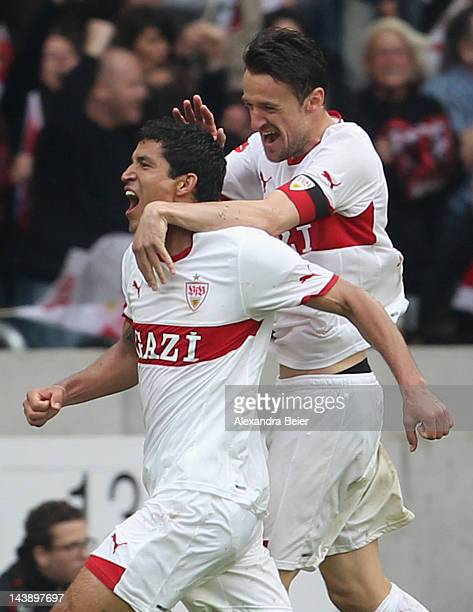 Maza and Christian Gentner of Stuttgart celebrate Maza's goal during the Bundesliga match between VfB Stuttgart and VfL Wolfsburg at MercedesBenz...