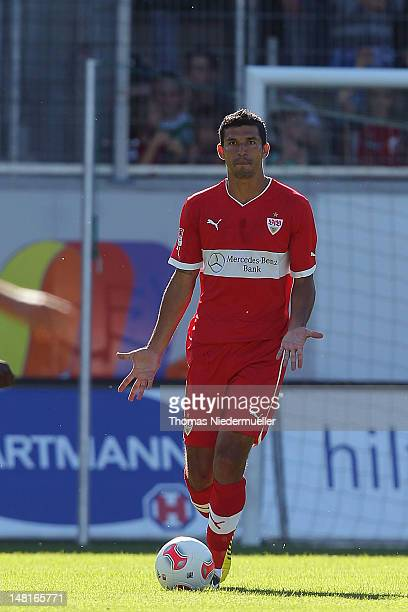Maza Rodriguez of Stuttgart runs with the ball during the friendly match between 1 FC Heidenheim and VfB Stuttgart at VoithArena on July 11 2012 in...